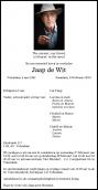 Dhr. J. de Wit