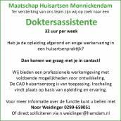 Vacature: Maatschap Huisartsen Monnickendam